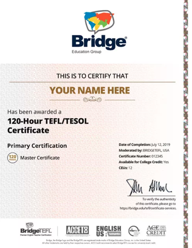 BridgeTEFL certificate