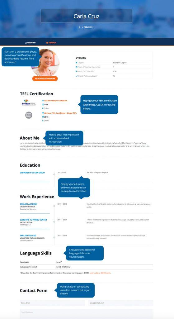 BridgeTEFL Job Board Teacher Portfolio