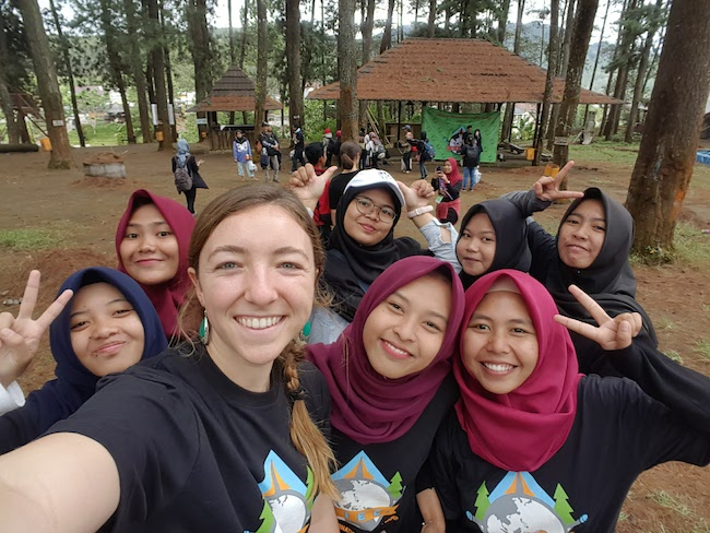 Olivia, TEFL teacher in China, on a trip to Indonesia