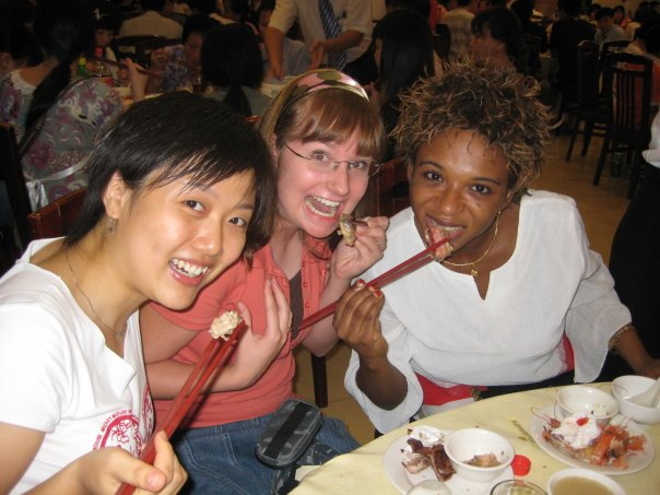 English Teacher in China eating with friends