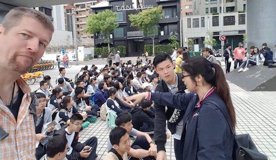 Richard Blanke with his EFL students in Taiwan