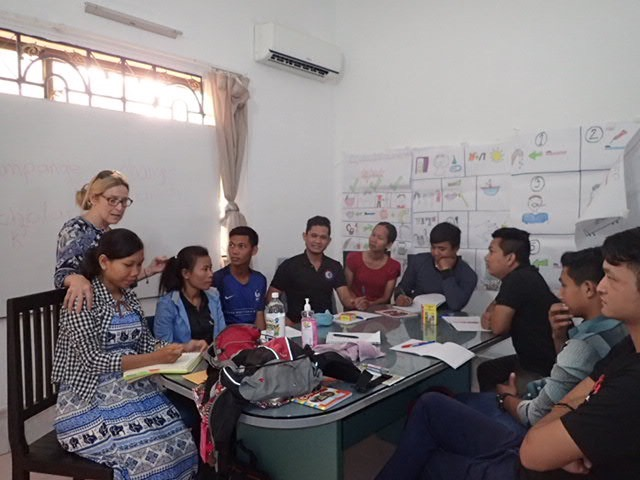 TEFL teacher trainer, Carol, with some of the Cambodian teachers she trains