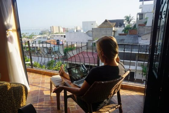 Rachel teaching online in Mexico