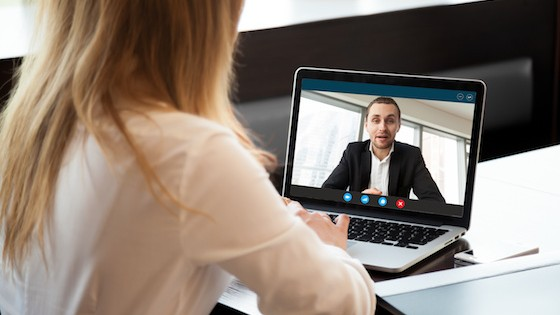 TEFL teacher doing an online interview