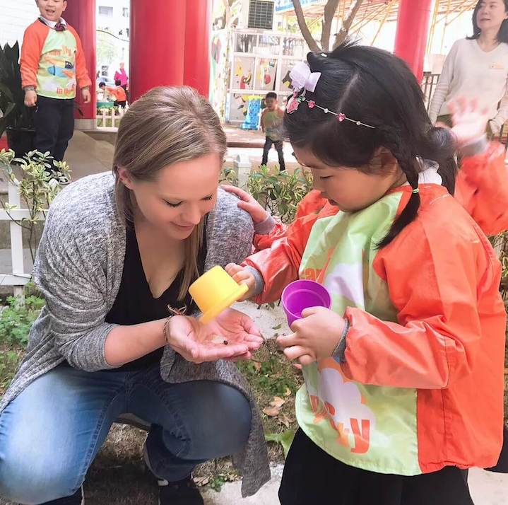 Jordan, teacher in China, with her student