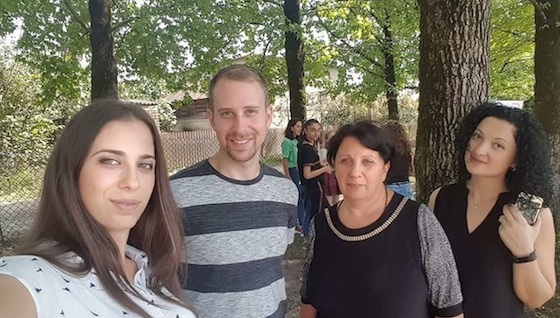 Michael, teacher in Georgia, with his students