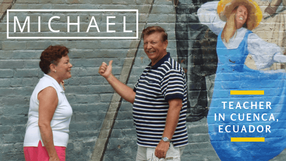 BridgeTEFL Graduate and teacher, Michael, with his wife in front of a mural in Cuenca Ecuador