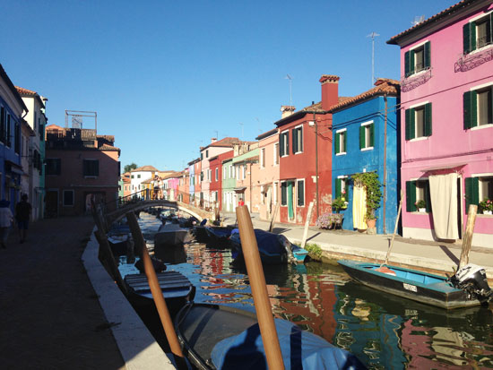 Colorful buildings and canal in Venice, Italy