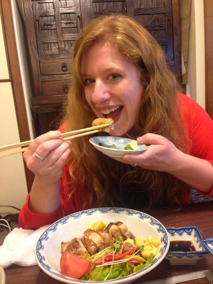Colleen, English Teacher in Japan, eating traditional Japanese food