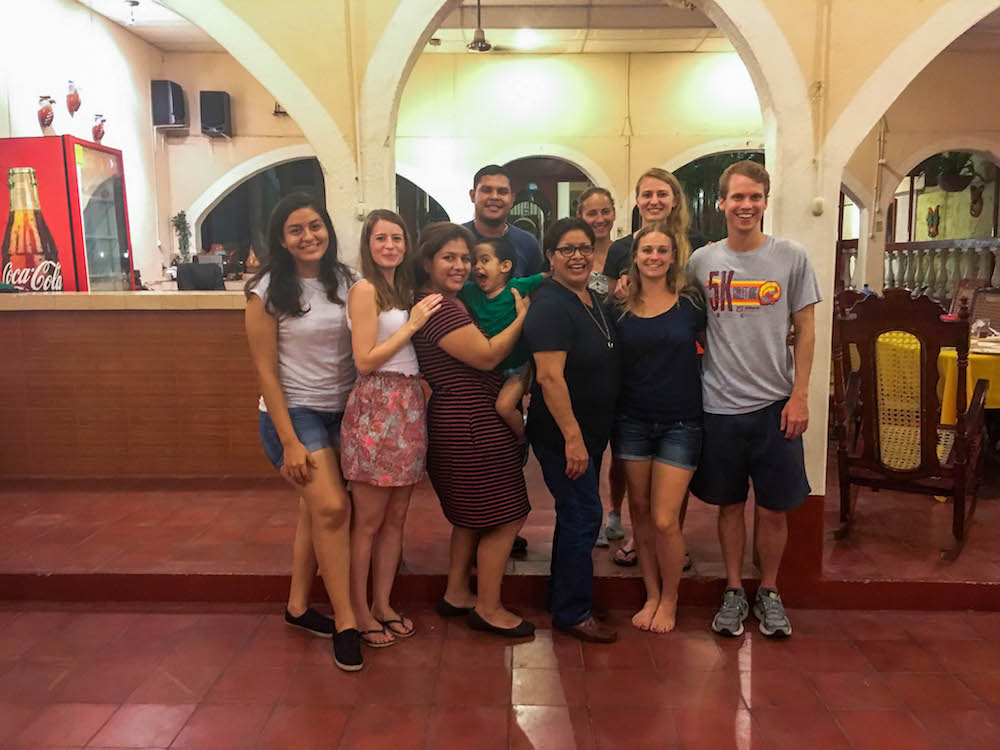 Ben, teacher in Nicaragua, with hostel family and friends from my first 2 months in Nicaragua