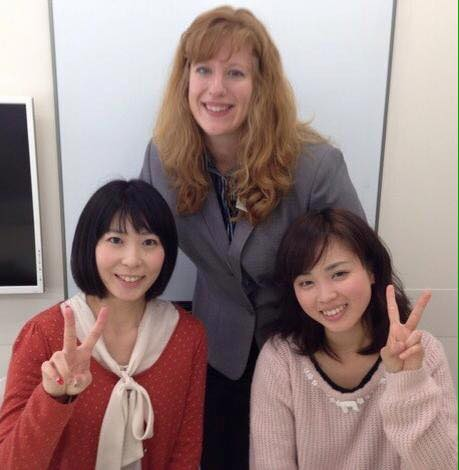 English teacher in Japan, Colleen, with her adult students