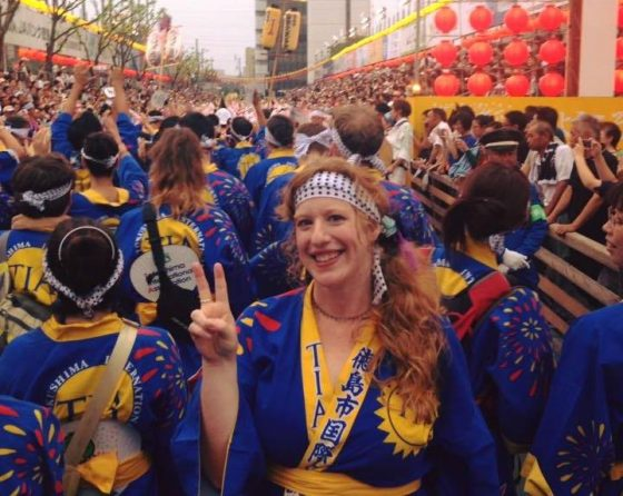 English Teacher in Japan, Colleen, at Awa Odori Festival