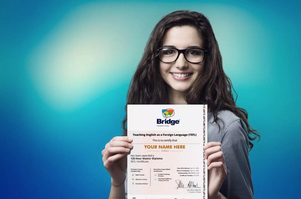 Graduate holding BridgeTEFL online certificate.
