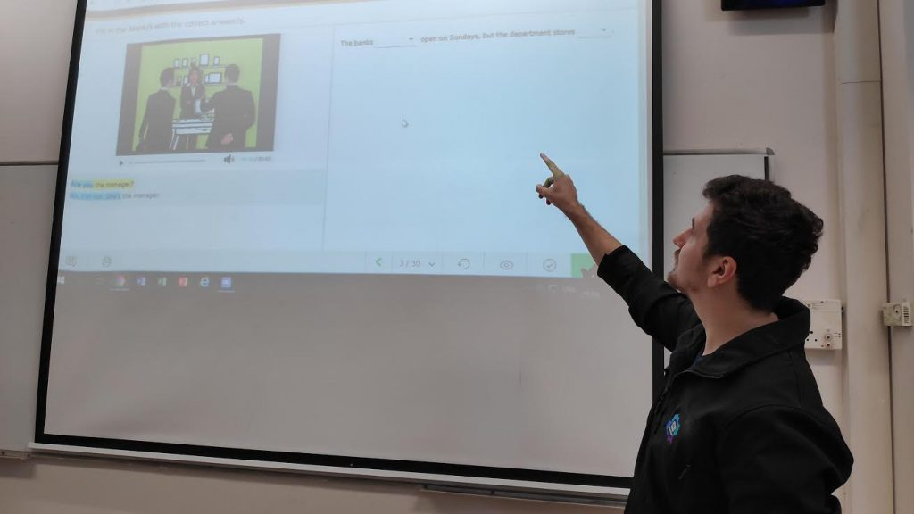 Pavel, English Teacher in Israel, in the classroom