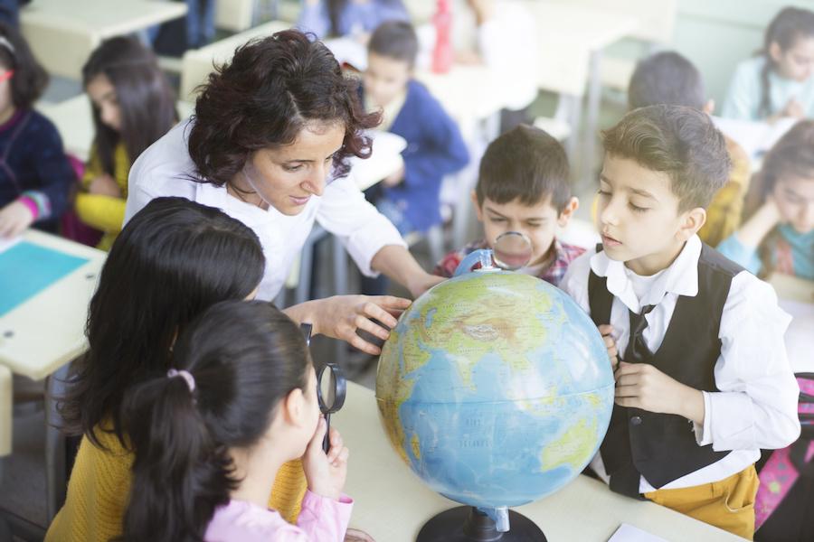 Teacher in an international classroom
