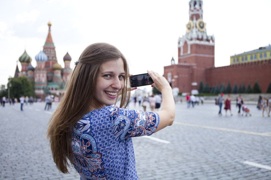 Woman taking picture in Moscow