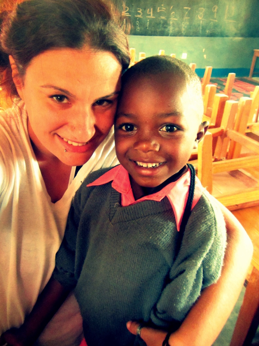 Lindsay with one of her ESL students in Tanzania
