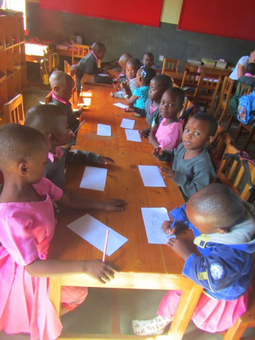 ESL students in Tanzania at work