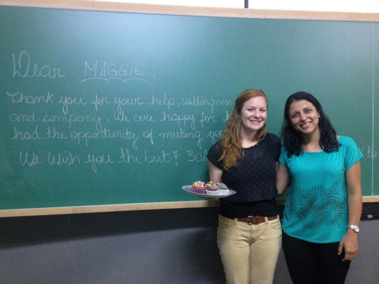 Maggie posing with a fellow English teacher in Brazil.