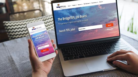 BridgeTEFL Job Board on laptop and phone