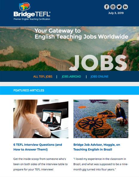 BridgeTEFL Jobs Newsletter