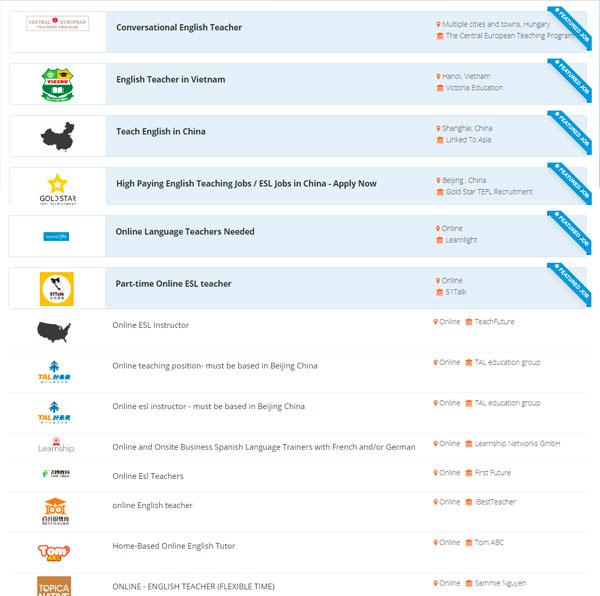 BridgeTEFL Job Board Results