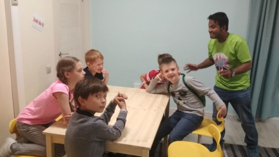 Teacher with ESL Students