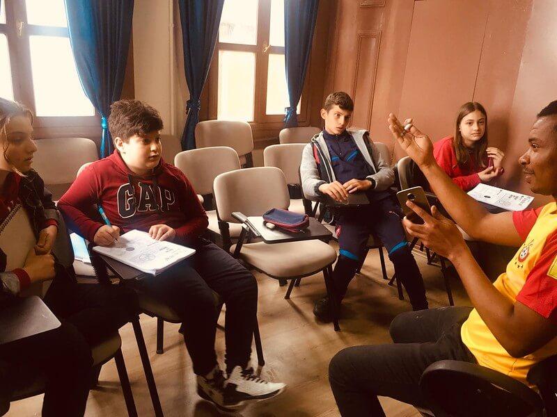 ESL teacher with teen students