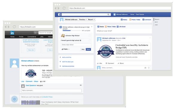 Digital badges for TEFL on Facebook and LinkedIn profiles