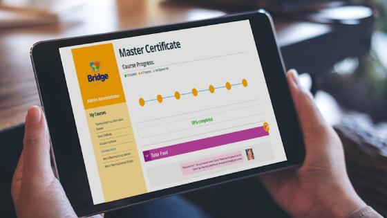 Bridge online TEFL course on tablet_blog image