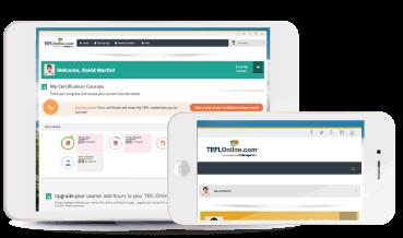 BridgeTEFL online course on phone an tablet