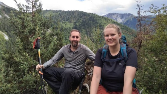 Coleen, English teacher in China, hiking with her husband