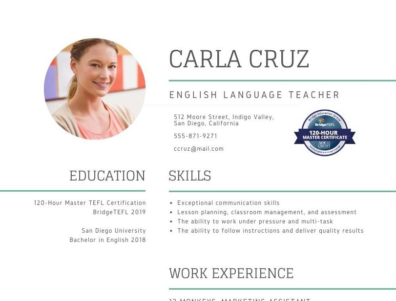Resume with BridgeTEFL digital badge