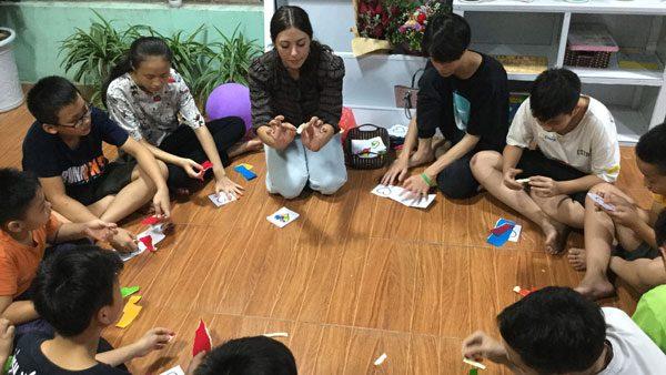 teacher with students in Vietnam