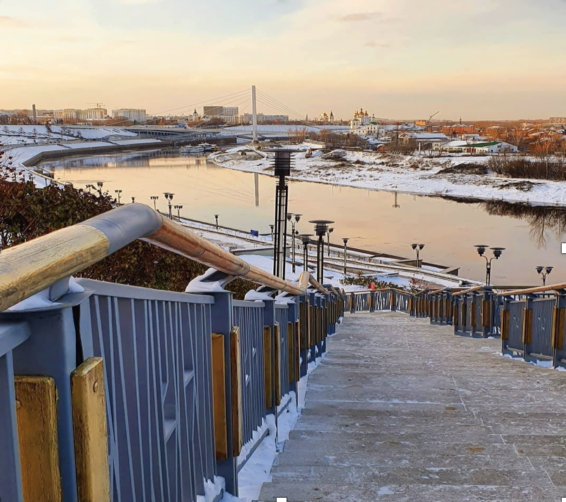 The Tura River, which runs through the city of Tyumen, Russia