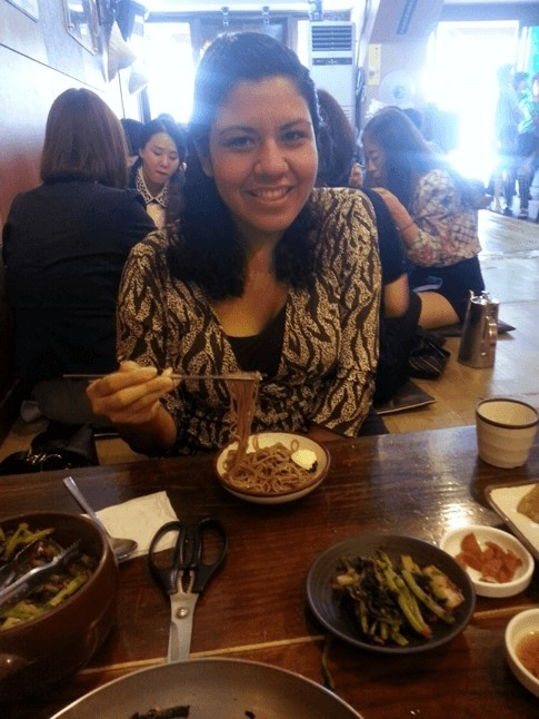 "Gedisa, English teacher in Korea, enjoys a meal of cold buckwheat noodles called ""Naengmyeon"""