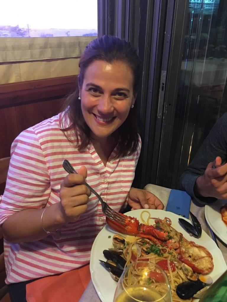 Jennifer Landini, English Teacher in Rome enjoying Italian food