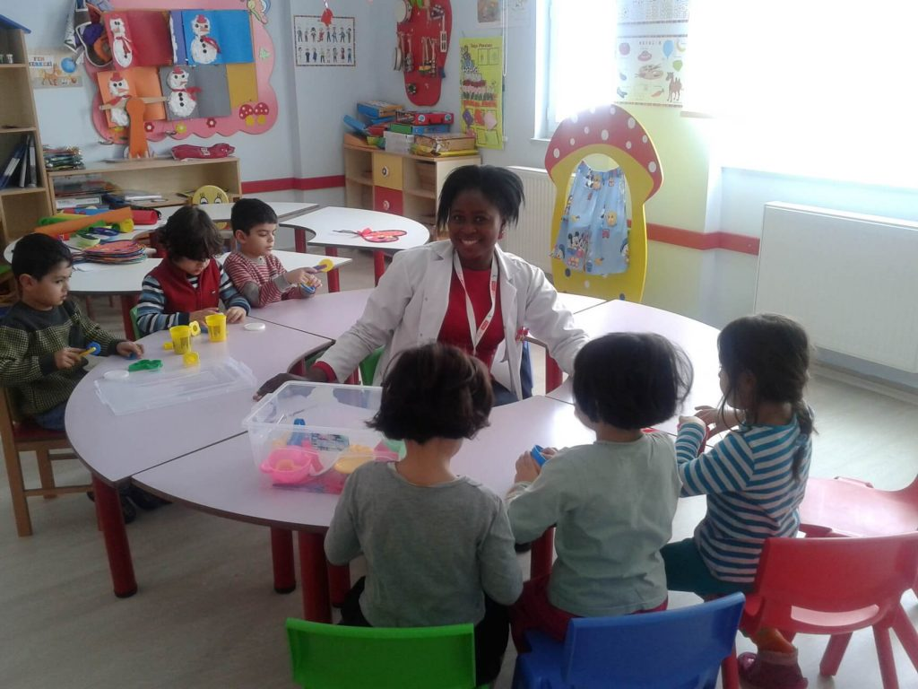 teaching in the classroom with students in Turkey