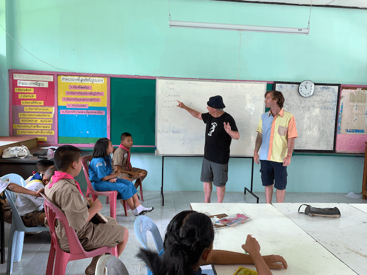 Teacher teaching kids in Thailand classroom