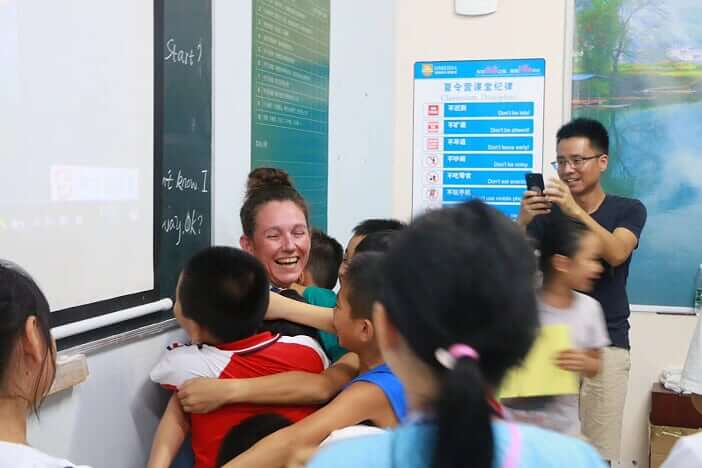 End of camp goodbyes in China
