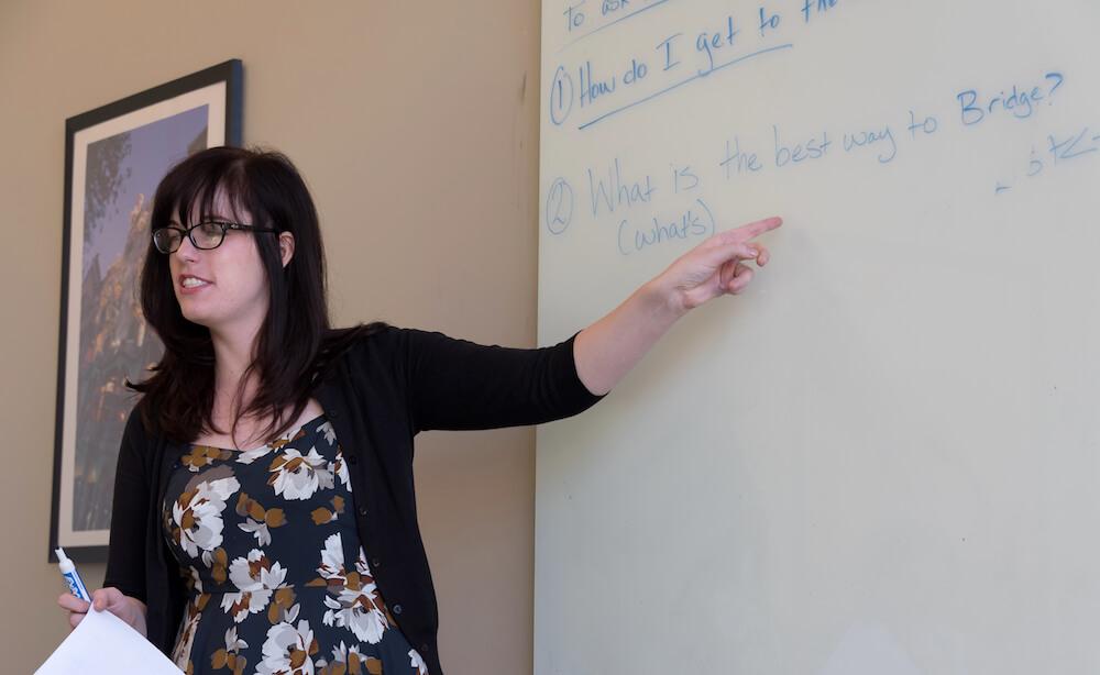 ESL teacher instructing class of students