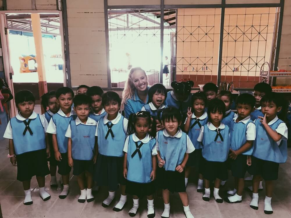 Kelsea, with her kindergarten class in the PhangNga Province of Thailand
