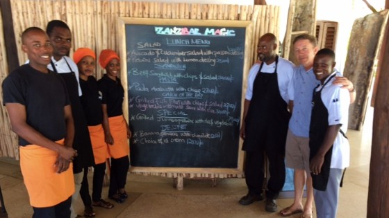 Russell with his ESL students in Tanzania