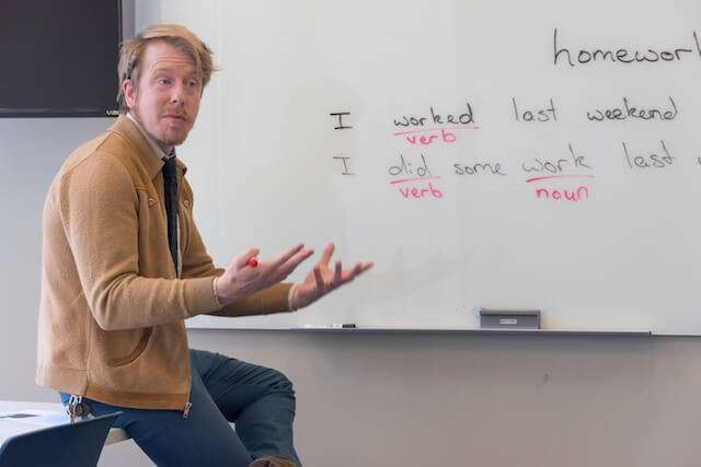 teacher in front of whiteboard with lesson on it