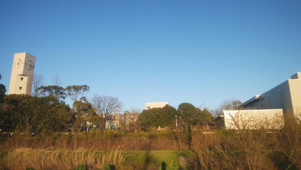outside the junior and senior high school buildings in rural Japan