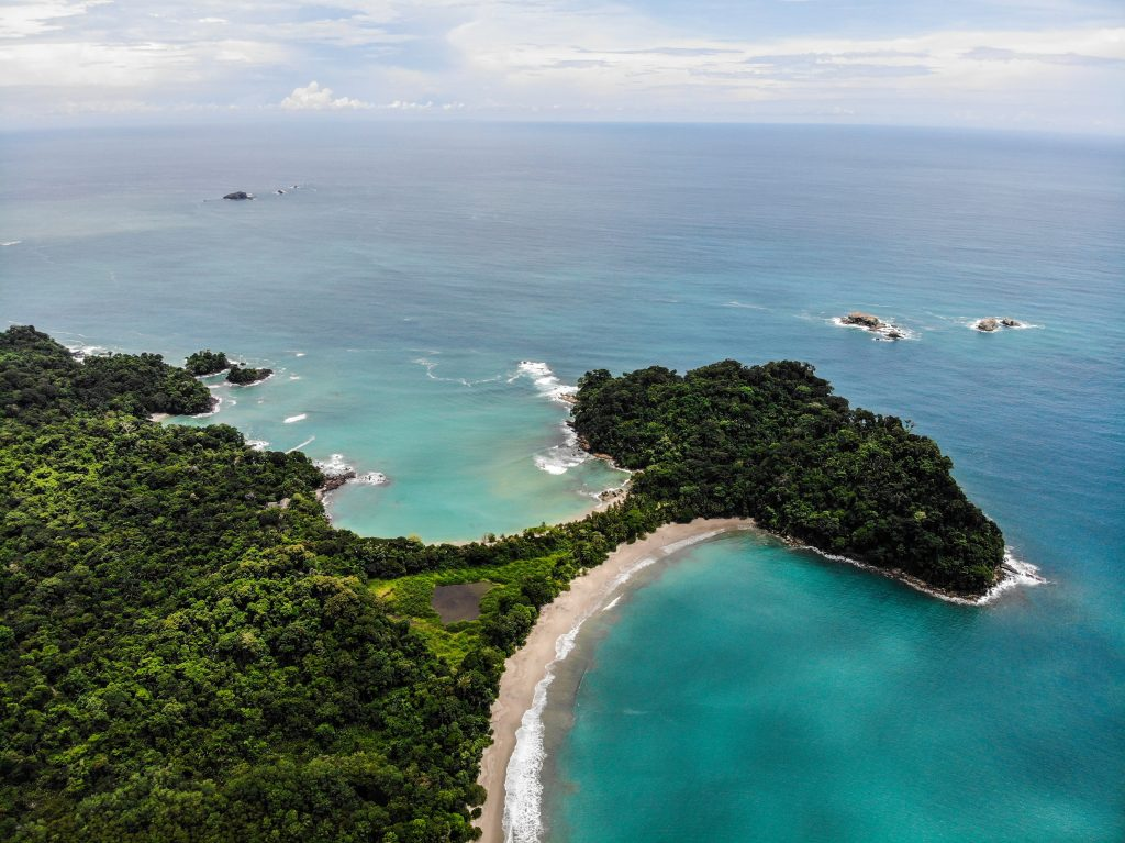 beach, ocean, and forest view in Costa Rica