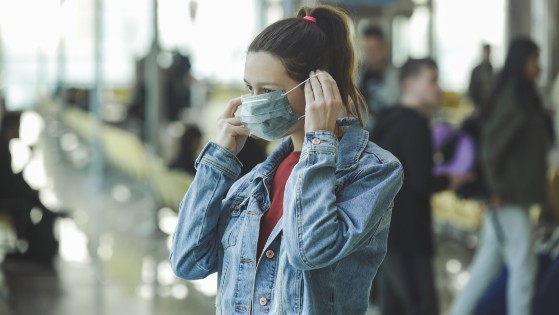 Woman wearing face mask in Asia