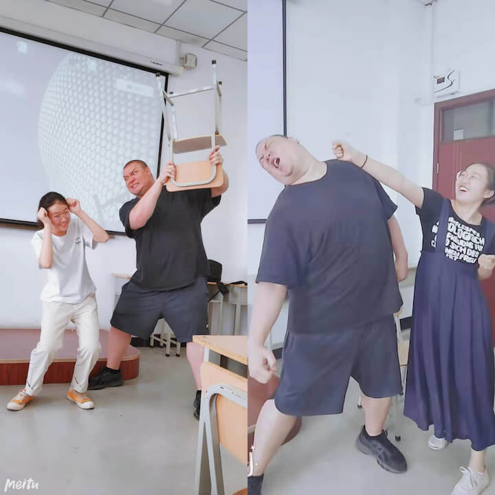 teacher and students play fighting