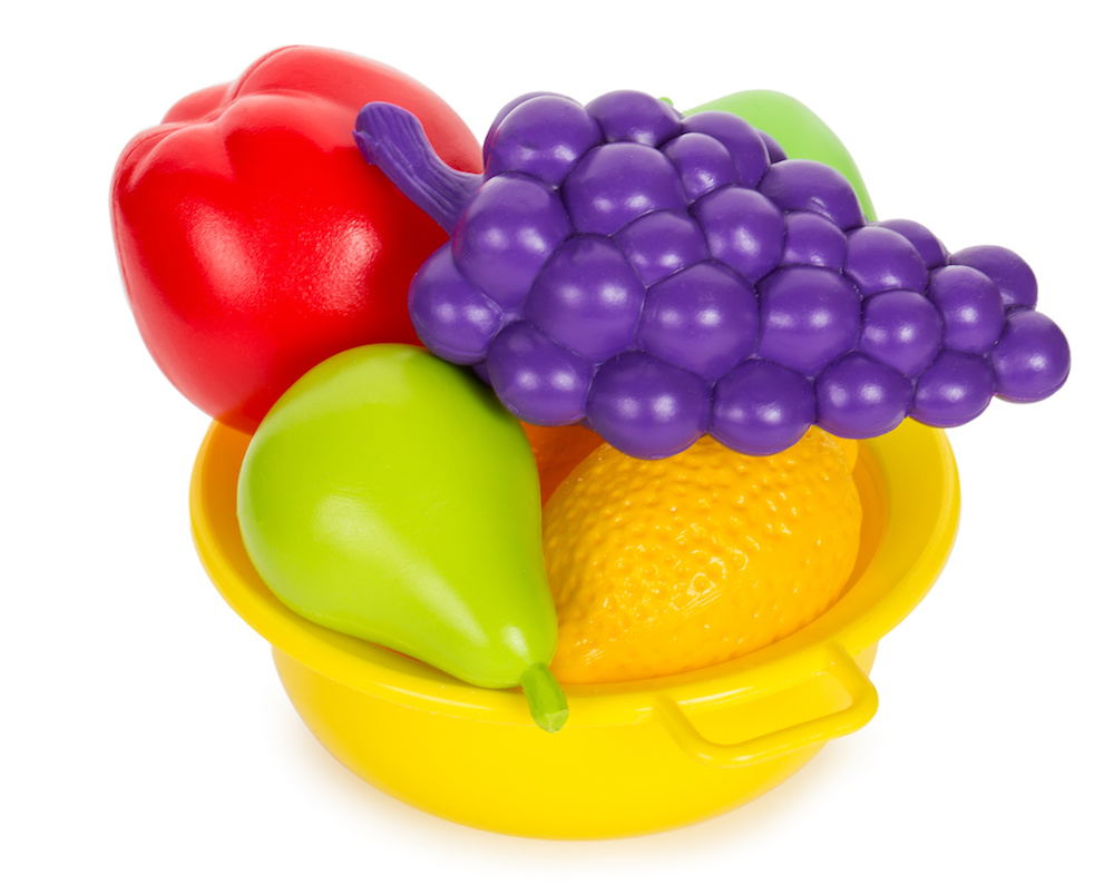 toy fruit in bowl