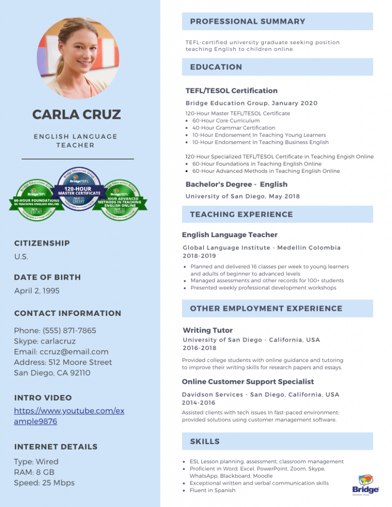 Online Teacher Resume infographic